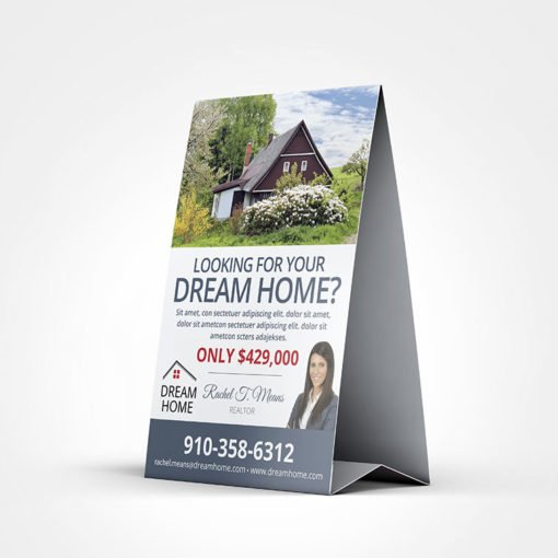 Standard Table Tents printing | Real Estate Agent Standard Table Tents with Standard Gloss Cover-100lb and UV Coating Front and Color Front Only | Print Magic