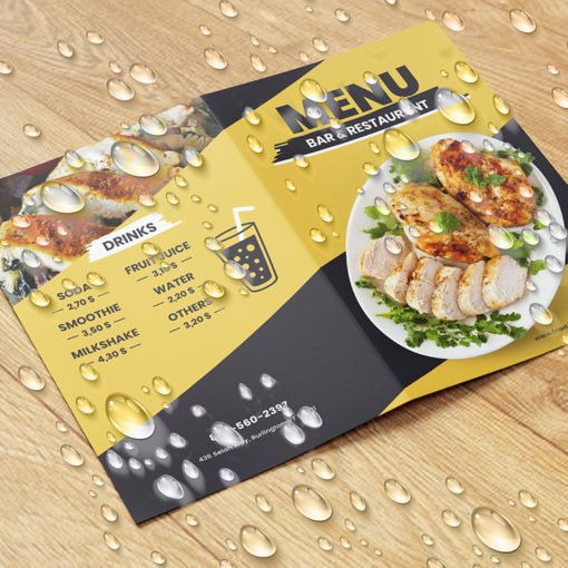 Custom Restaurant Spa & Salon Menus   Restaurant Spa & Salon Menus with Endurace Waterproof-10pt and FLAT - No Folding & Scoring and printed Full color front only   Print Magic
