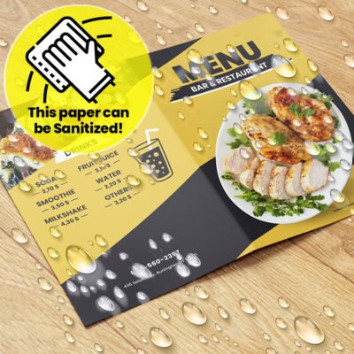 Waterproof Synthetic Menus | Restaurant Spa & Salon Menus with Endurace Waterproof-10pt and FLAT - No Folding & Scoring and printed Full color front only | Print Magic