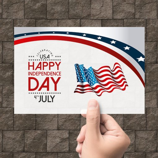 Custom Plastic Postcards | Happy Independence Day Plastic Postcards with White Plastic -20pt. And printed front only | Print Magic