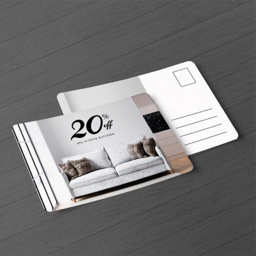 Plastic Postcards | Horizontal Rectangle Round Corner White Plastic 20pt. Paper stock Printed both sides Interior Decor Sales Offers Plastic Postcards | PrintMagic