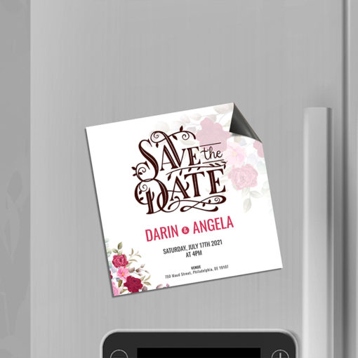 Save The Date Magnets | Square Shape Printed Color and UV Coating on Front only with 17pt. Magnetic Stock Paper stock and Use for weddings, upcoming corporate events or product launches | PrintMagic