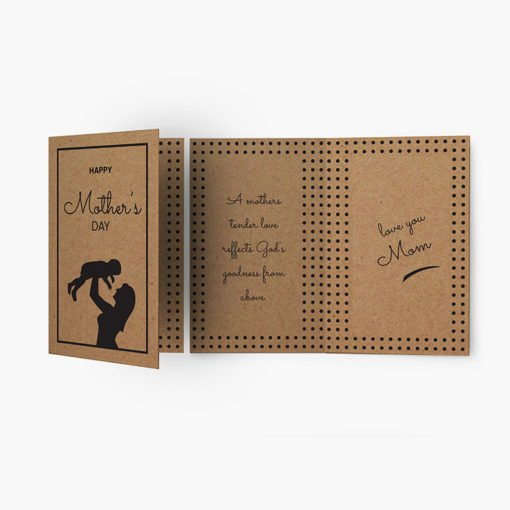 Brown Kraft Greeting Cards Folded | Brown Kraft Greeting Cards Folded Printing | Brown Kraft Mothers Day Greeting Cards Folded With Print Side Front & Back And Score Only In Half-Fold And Thick Brown Kraft Uncoated Paper Stock | Print Magic