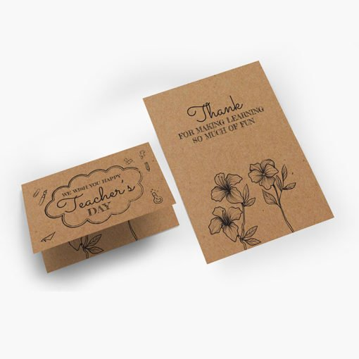 Brown Kraft Greeting Cards Flat | Brown Kraft Greeting Cards Flat Printing | Brown Kraft Thank You Greeting Cards Flat With Print Side Front & Back And Score Only In Half-Fold And Thick Brown Kraft Uncoated Paper Stock | Print Magic