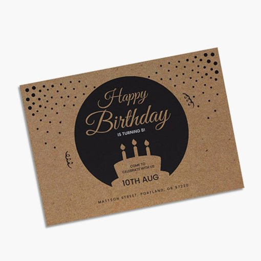 Brown Kraft Greeting Cards Flat | Spot UV coating with the silk feel creates a contrasting effect and Paper is soft and very smooth to touch | Print Magic