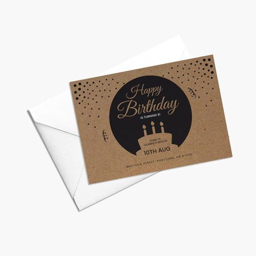 Brown Kraft Invitation Cards | Brown Kraft Birth Day Invitation Cards With Print Side Front And Thick Brown Kraft Uncoated Paper Stock | Print Magic