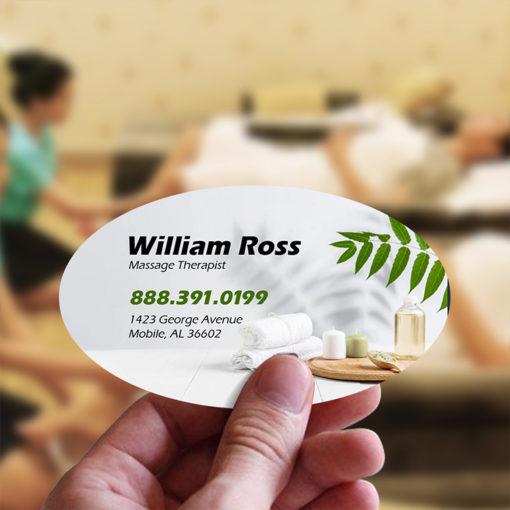 Business Card Stickers | Business Card Sticker Oval SPA Health Care | PrintMagic