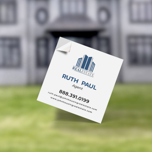Business Card Stickers | Business Card Sticker Square Real Estate Agent Card | PrintMagic