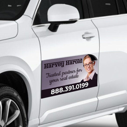 Car Magnets | Horizontal printed front side with Gloss Heavy Duty Magnets Real Estate Magnets | PrintMagic