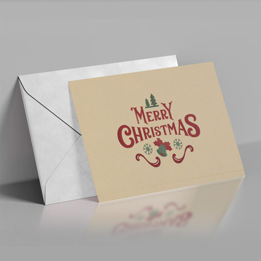 Flat Brown Kraft Greeting Cards | Upload your custom design on Thick Brown Kraft Uncoated paper Merry Christmas Greeting Cards | PrintMagic