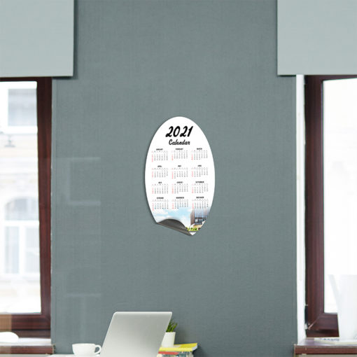 Magnetic Calendars | Vertical Oval shape printed front side with 17 pt. Magnetic Stock and UV coating front side magnetic calendar | PrintMagic