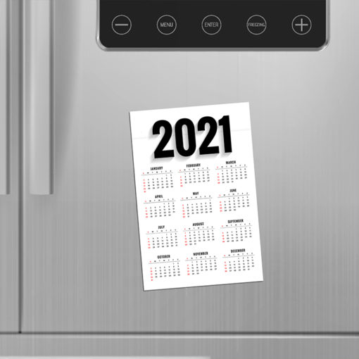 Magnetic Calendars | Vertical Rectangle shape printed front side with 17 pt. Magnetic Stock and UV coating front side magnetic calendar | PrintMagic
