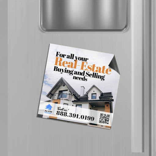 Refrigerator Magnets | Square Shape Printed Color and UV Coating on Front only with 17pt. Magnetic Paper Stock and Refrigerator Realestate Magnets | PrintMagic