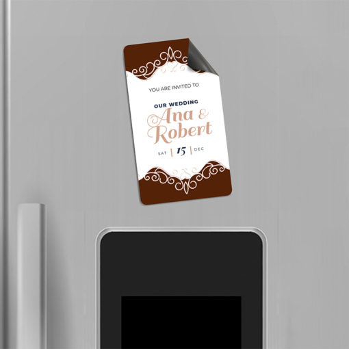 Save The Date Magnets | Vertical All Rounded Corners shape printed Front Only and 17 pt. Magnetic Stock paper stock with UV coating on front side Save The Date Magnets | PrintMagic