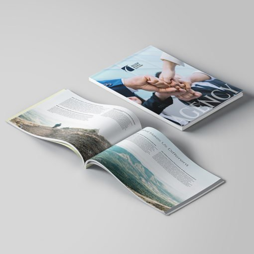 Custom Booklets | Business Corporate Horizontal Perfect Binding Booklets with Standard Gloss Paper Stock and UV Both Sides Coating | Print Magic