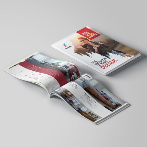 Custom Booklets   Travel and Leisure Horizontal Perfect Binding Booklets with Standard Gloss Paper Stock and UV Both Sides Coating   Print Magic