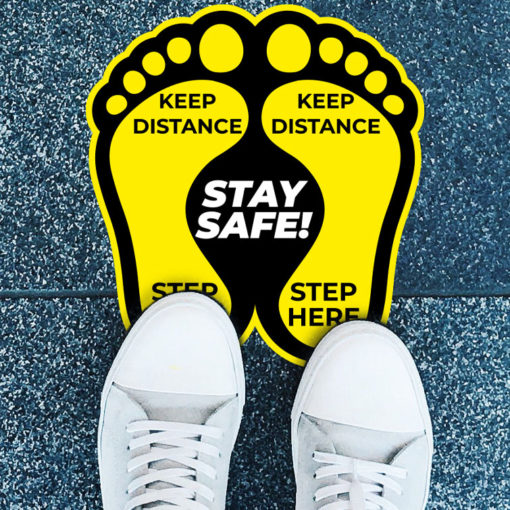 Street & Sidewalk Decals | Alluminium Floor Decals Contour Cut Safety Signs with custom size and shape | PrintMagic