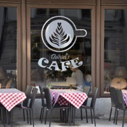 Clear Window Decals | Clear Window Decal Cafe Restaurant | Printed on Front Only With White Mask with Clear Static Cling - 8 mil | Print Magic