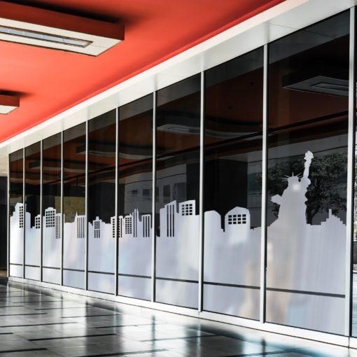 Opaque Window Decals | Opaque Window Decal Line art skyline commercial | Printed on Color Front Only with Opaque Adhesive - 8 mil | Print Magic