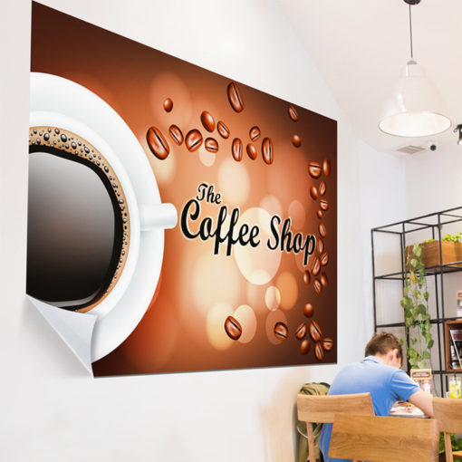 Repositionable Wall Decals   Adhesive Vinyl Wall Decal - 8 mil. printed Front side low tack Restaurant Coffee Shop Wall Decals   PrintMagic