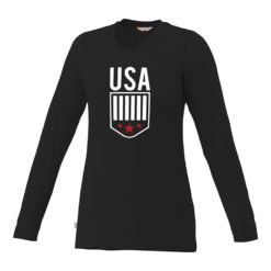 Custom Printed Ladies Premium Long Sleeve Colored T-shirt | Black