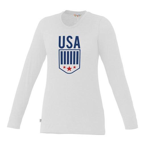 Custom Printed Ladies Premium Long Sleeve White T-shirt