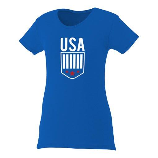 Custom Printed Ladies Premium Short Sleeve Colored T-shirt | Blue