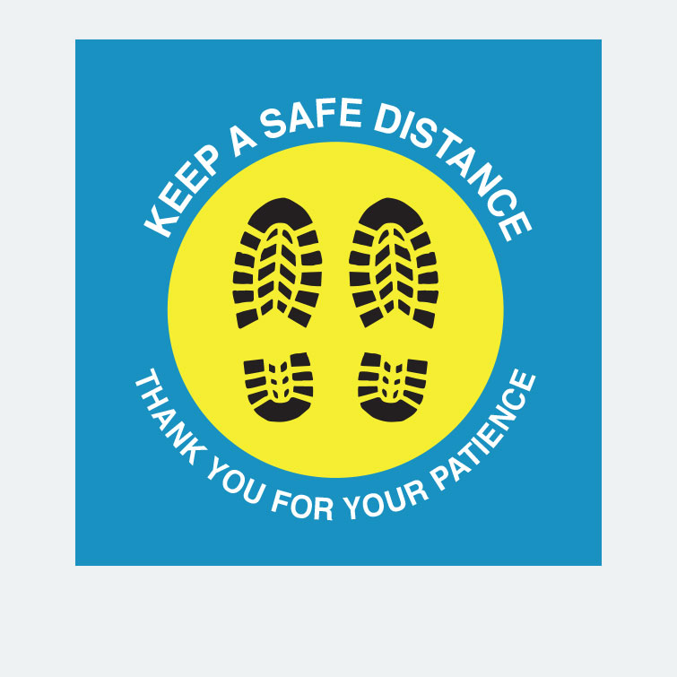 Free design template download for printing - 14x14 Floor Graphics 6ft Keep Safe Distance v5