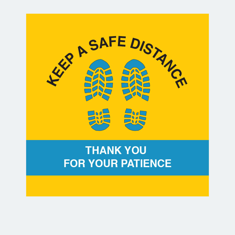 Free design template download for printing - 14x14 Floor Graphics 6ft Keep Safe Distance v8
