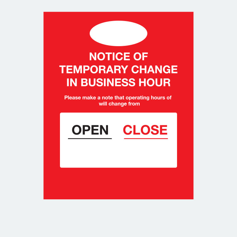 Free design template download for printing - 16x20 Window Cling Notice Temporary Change Business Hours