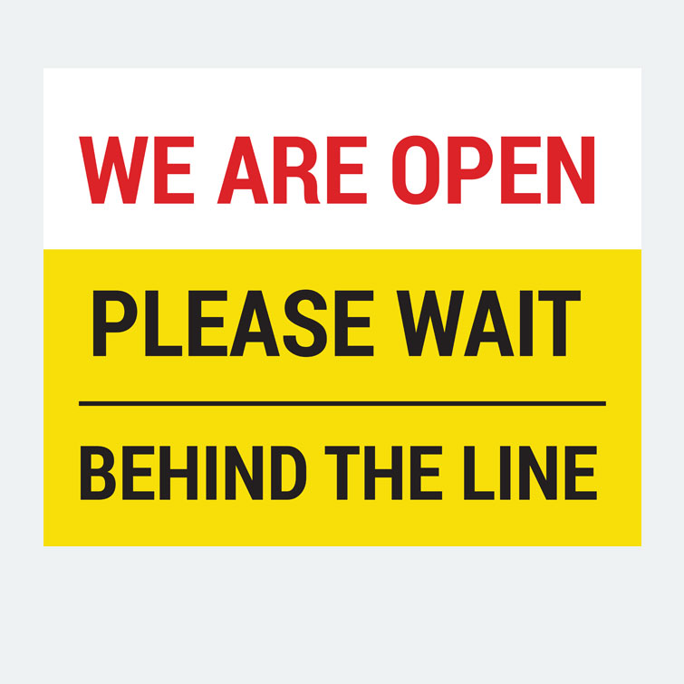 Free design template download for printing - 16x20 Window Cling Please Wait Behind The Line
