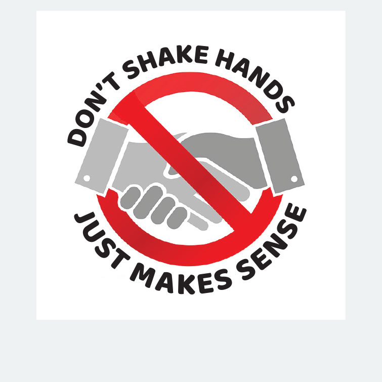 Free design template download for printing - 2x2 Stickers Dont Shake Hands
