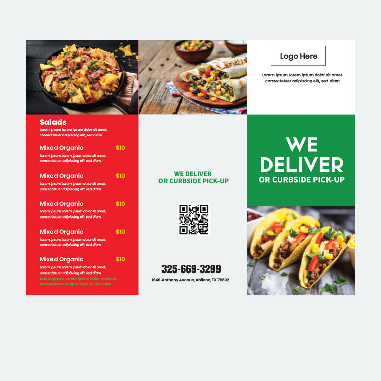 Free download designs for 8.5x11 Take-Out Menus Mex