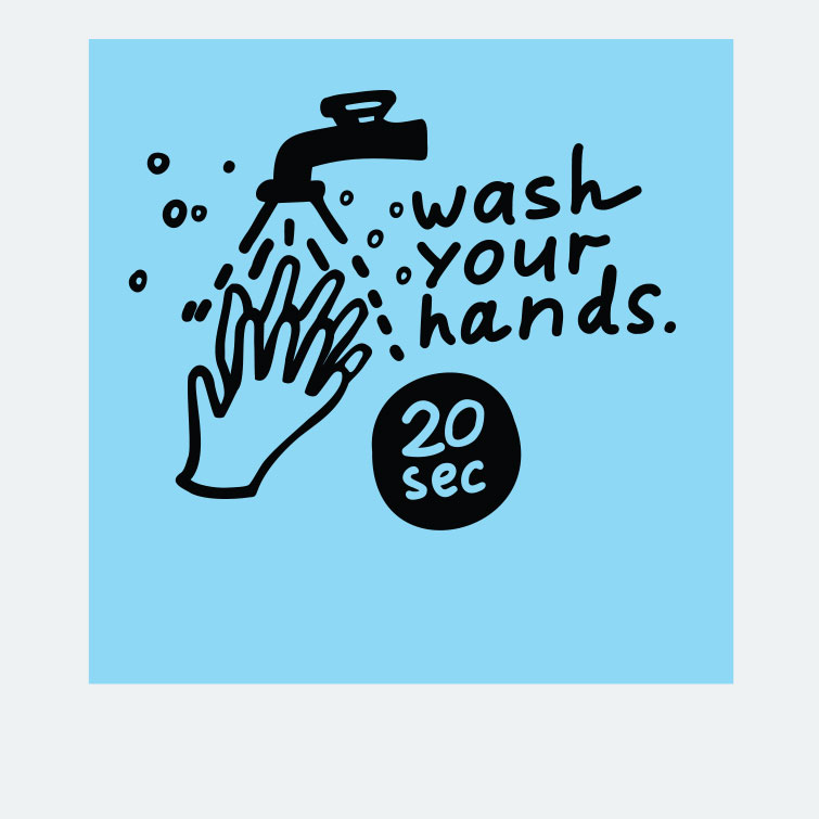 Free design template download for printing - 8x8 Window Cling Wash Your Hand Twenty Second
