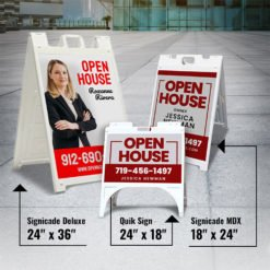 "A-Frame Signs | A-Frame Signs printing | Plastic Quik Frame White - 26""W x 31.5""H frame and 4mm Corrugated Plastic material for parking lots, storefronts and real estate 