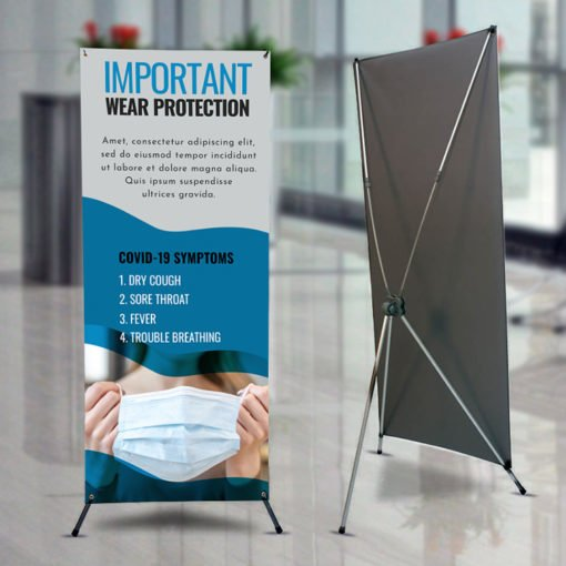 Multifunctional Adjustable X-Banner Stands | X-Banner Stands | X - Style Frame Stand 1-sided Banner Stand with Locking tripod stand design and built-in hooks for quick set up | Print Magic