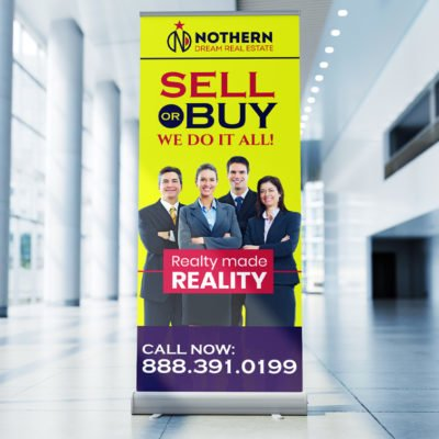 Retractable Banners Real Estate Agents | Retractable Banners Printing, Custom Retractable Banners | Durable aluminum frame and base with Economy, Deluxe, and Premium variants available | Print Magic