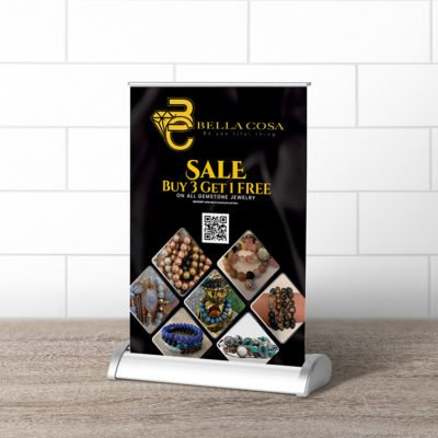 Tabletop Banner Jewellery Fashion | Tabletop Mini Retractable Banners Printing | Double White Popup with UV - 0.36mm Material with Deluxe Retractable Banner 1-sided Banner Stand | Print Magic