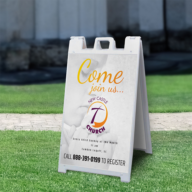 Church Signs | A-Frame Sidewalk Signs | Durable, portable, and easy to set up in place and Very visible marketing tool to attract pedestrians | Print Magic