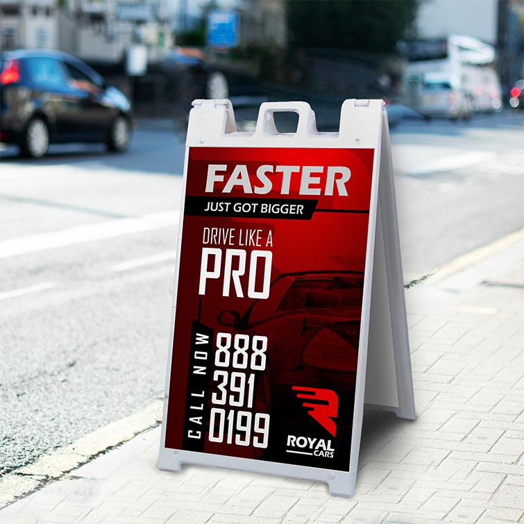 Automotive A-Frame Sidewalk Signs | Very visible marketing tool to attract pedestrians And Durable, portable, and easy to set up in place | Print Magic