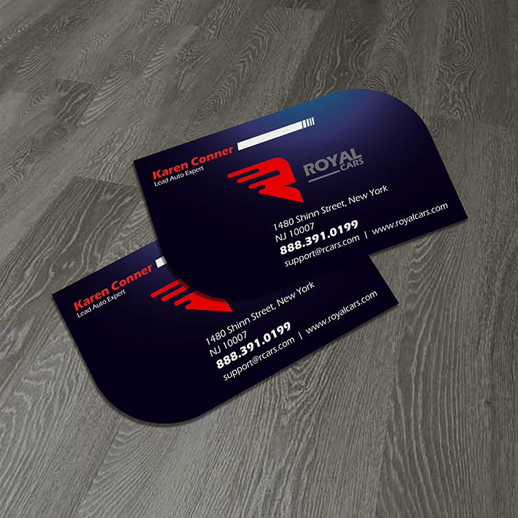Automotive Die Cut Business Cards | Glossy paper with premium coating options With Square, rectangle, leaf, circle, oval shapes | Print Magic