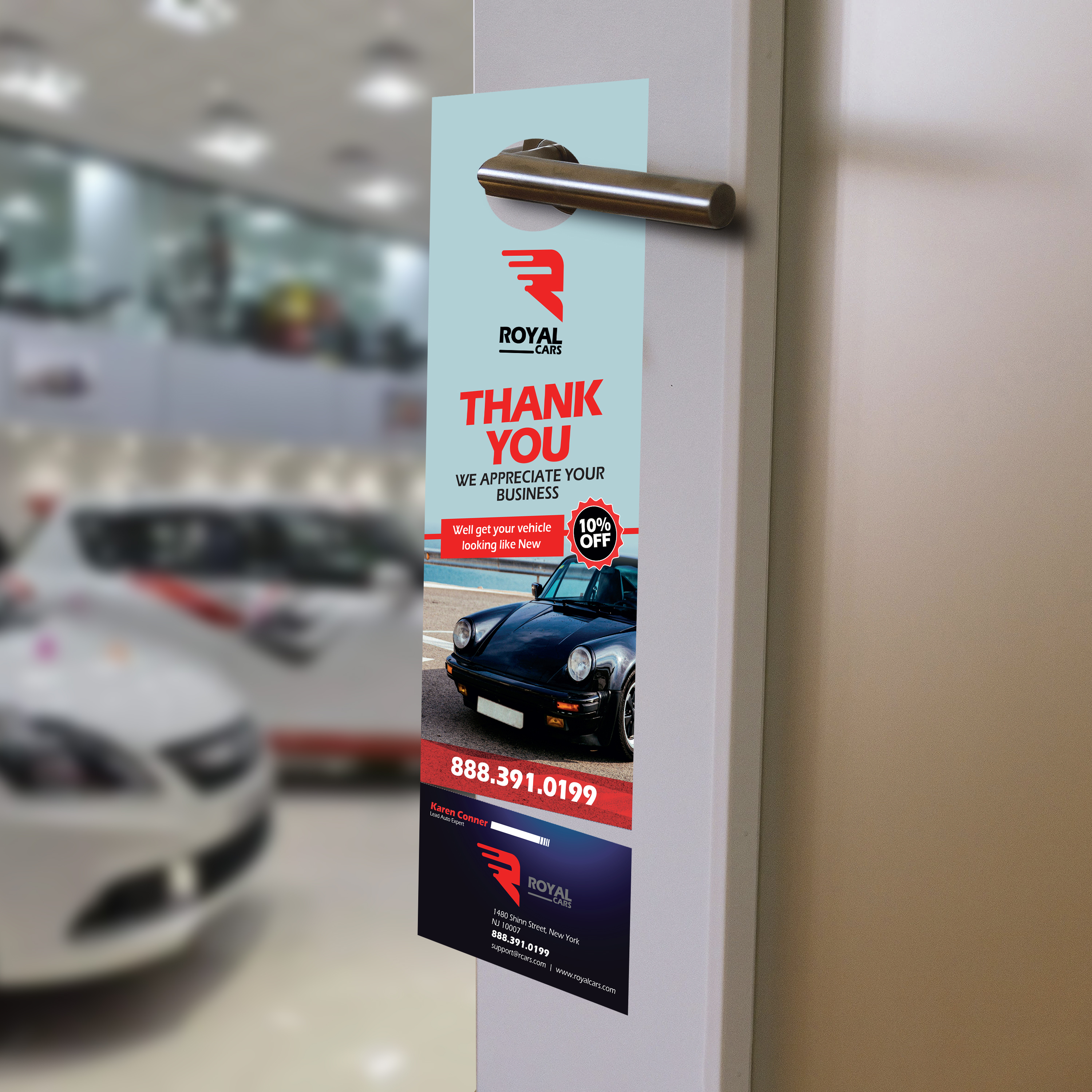 Automotive Door Hangers | Standard, Premium paper stock with UV or Aqueous coating Promote your brand, add coupons, and services | Print Magic