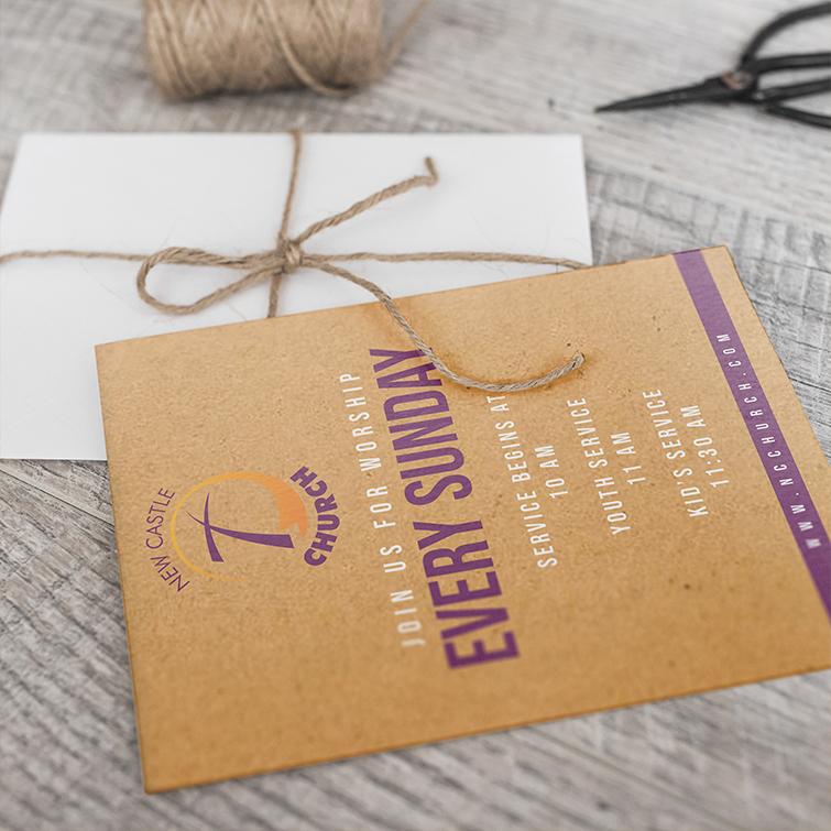 Church Brown Kraft Invitation Cards | Add a rustic and organic look to Invitation Cards and Add White Mask below custom design to make colors more vivid | Print Magic