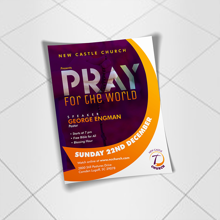 Church business flyers | full-color printing with your custom design and Flat or folded flyer options available | Print Magic