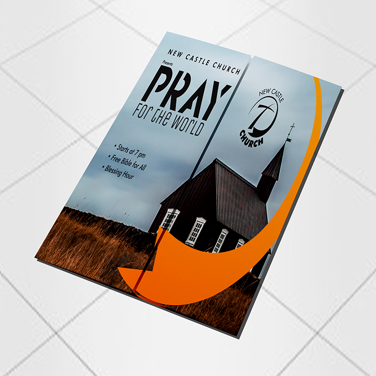 Church Gate Fold Brochure | Durable, long-lasting UV coating and Brochure opens up like a gate on either side | Print Magic