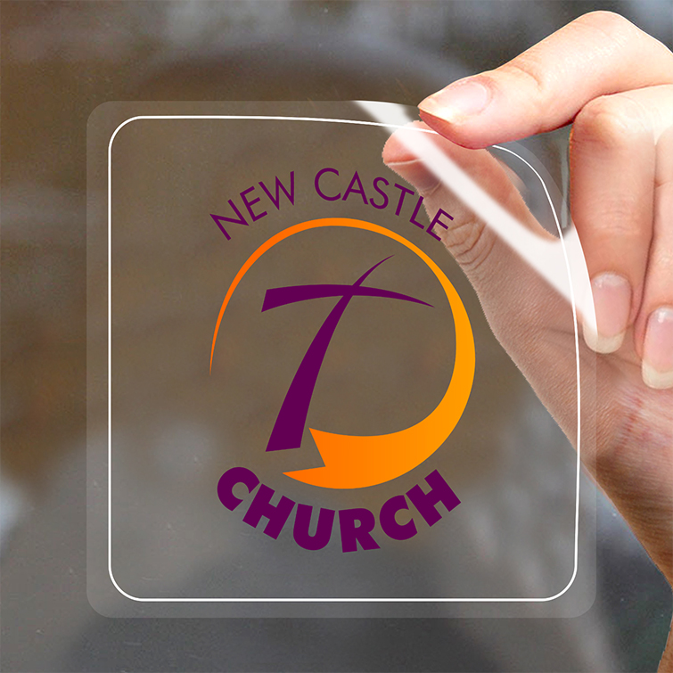 Clear Church Window clings | Clear background with a transparent display and View from outside the glass but applied to inside of the glass | Print Magic