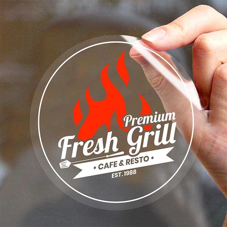 Clear Restaurant Window Clings | Fresh Grill Window Clings | Print Magic