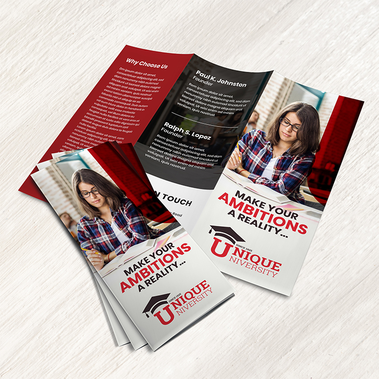 College Tri-Fold Brochure | College Tri-Fold Brochure printing with Durable, long-lasting UV coating and Brochure opens up like a gate on either side | Print Magic
