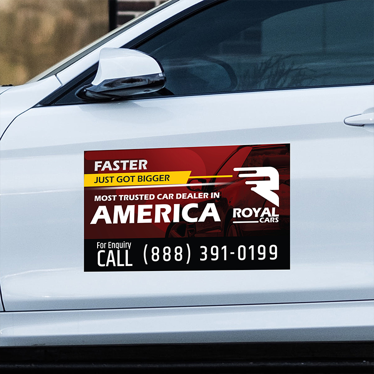 Automotive Custom Magnets | An easy-to-use marketing tool that sticks on most metal surfaces And Promote your business, products, and services | Print Magic