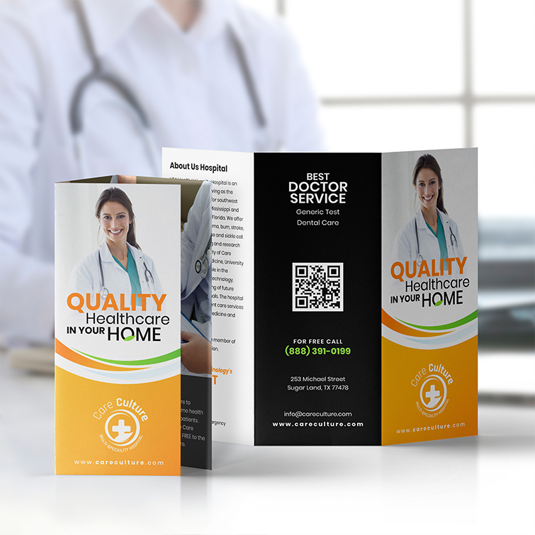 Health Tri-Fold Brochures   Standard Gloss text Paper Stock With Tri Fold Quality Healthcare In Your Home Brochures   Print Magic